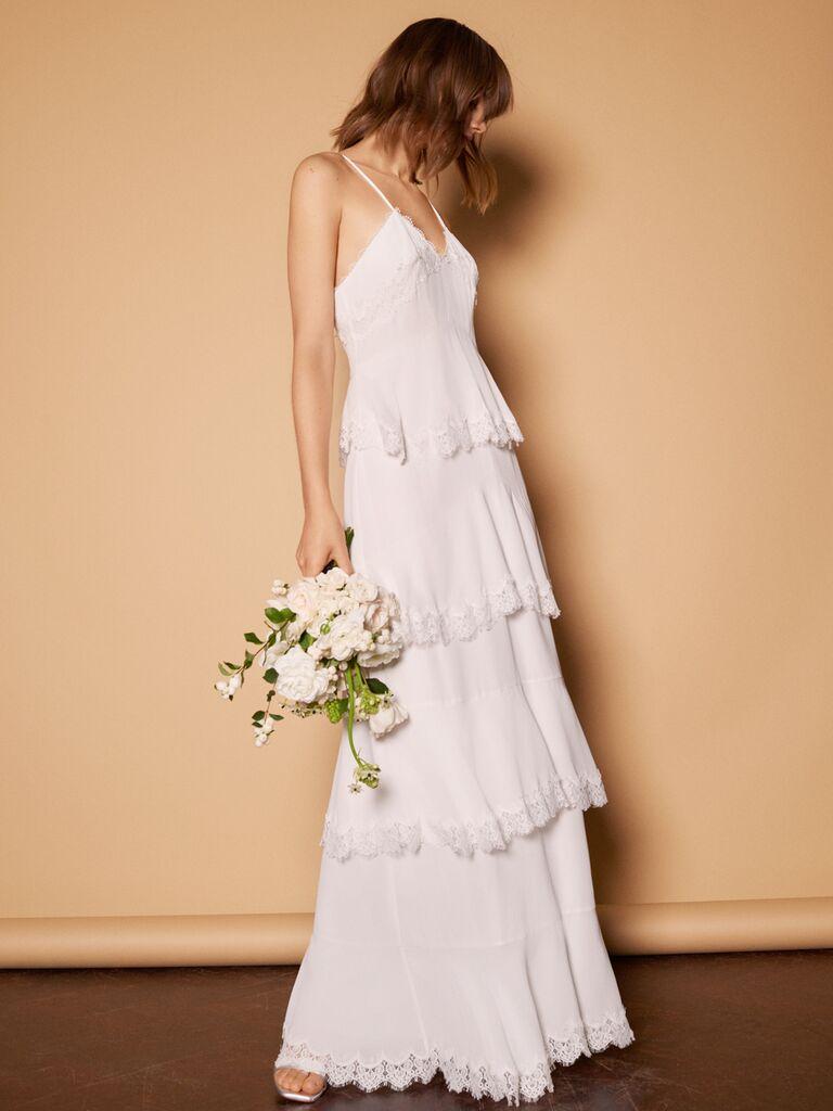 Whistles Wedding 2019 Bridal Collection teared sheath wedding dress with spaghetti straps