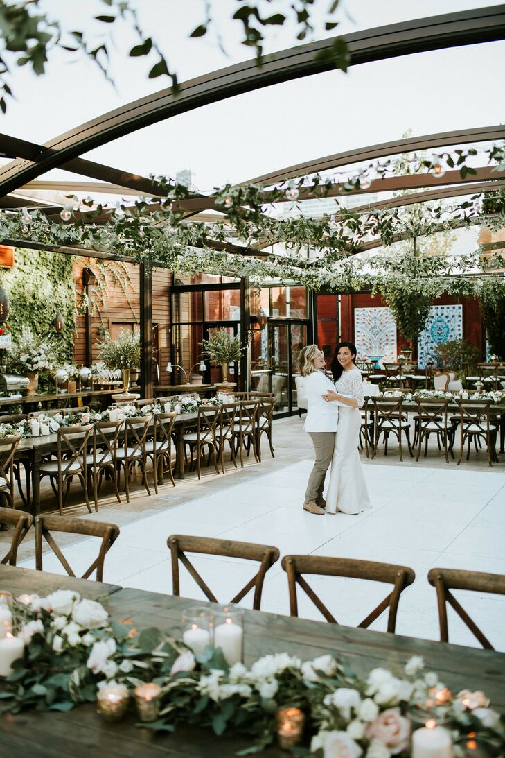 Long Reception Tables with Cross-Back Chairs and White Dance Floor