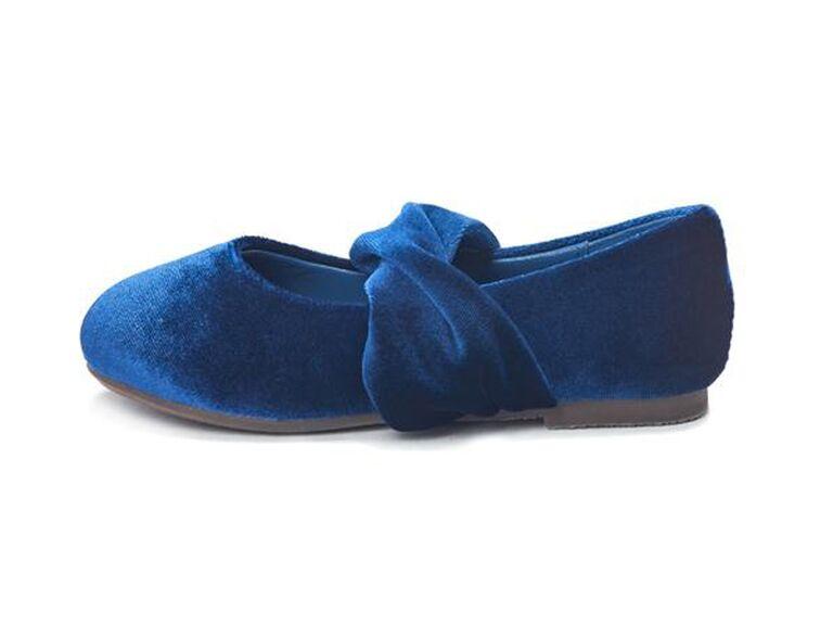 Blue velvet flower girl shoes
