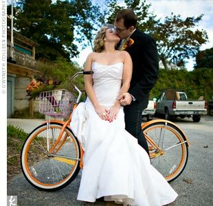 "Kate and Chris' favorite photo included an antique orange bike they'd spotted. ""It tied in perfectly with the vintage theme we were going for,"" says Kate."