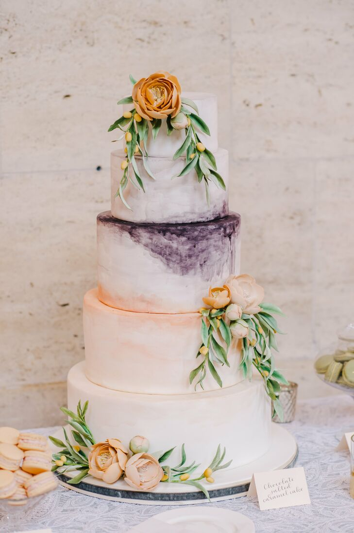 Round Tiered Cake with Watercolor Design
