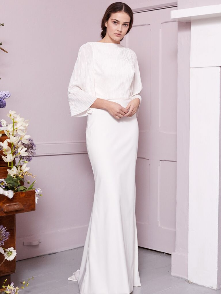 Halfpenny London 2020 Bridal Collection boat-neck fitted sheath wedding dress with bell seeves