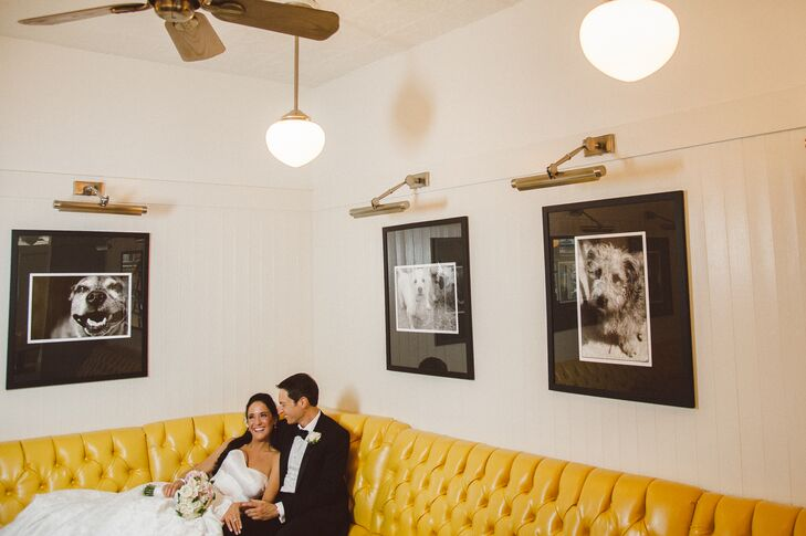During the wedding photo session, the bride and groom took a picture in the same booth where they sat on their first date, at Twenty Manning Grill.