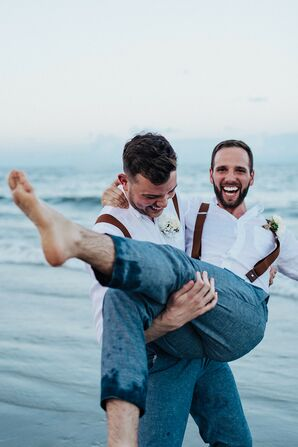 Couple Laughing During Wedding Portraits on Tybee Island in Georgia