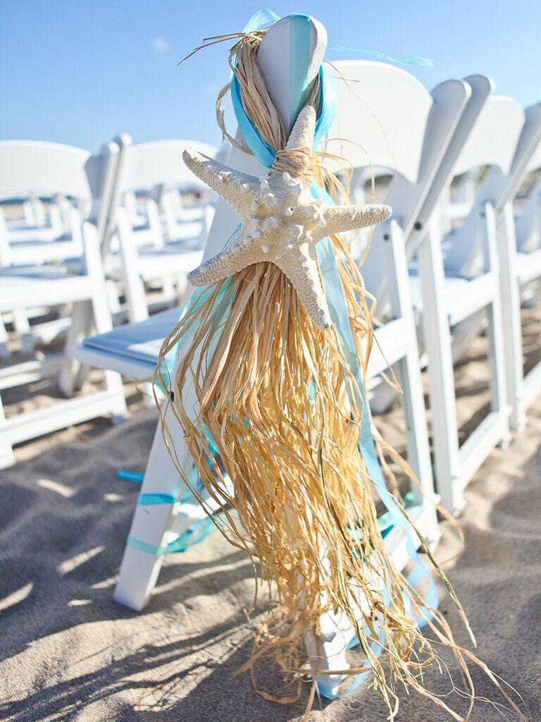 DIY beach-themed decorations for wedding ceremony
