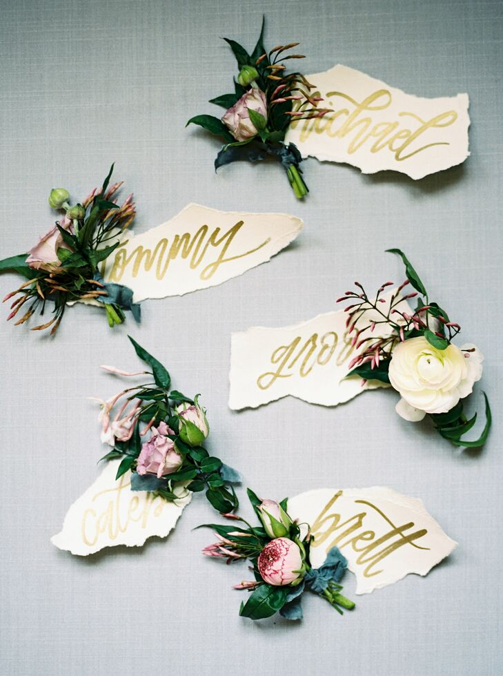 Bohemian Ranunculus and Rose Boutonnieres with Hand-Lettered Labels