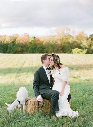 Monique Lhuillier Wedding Dress with Fur Wrap