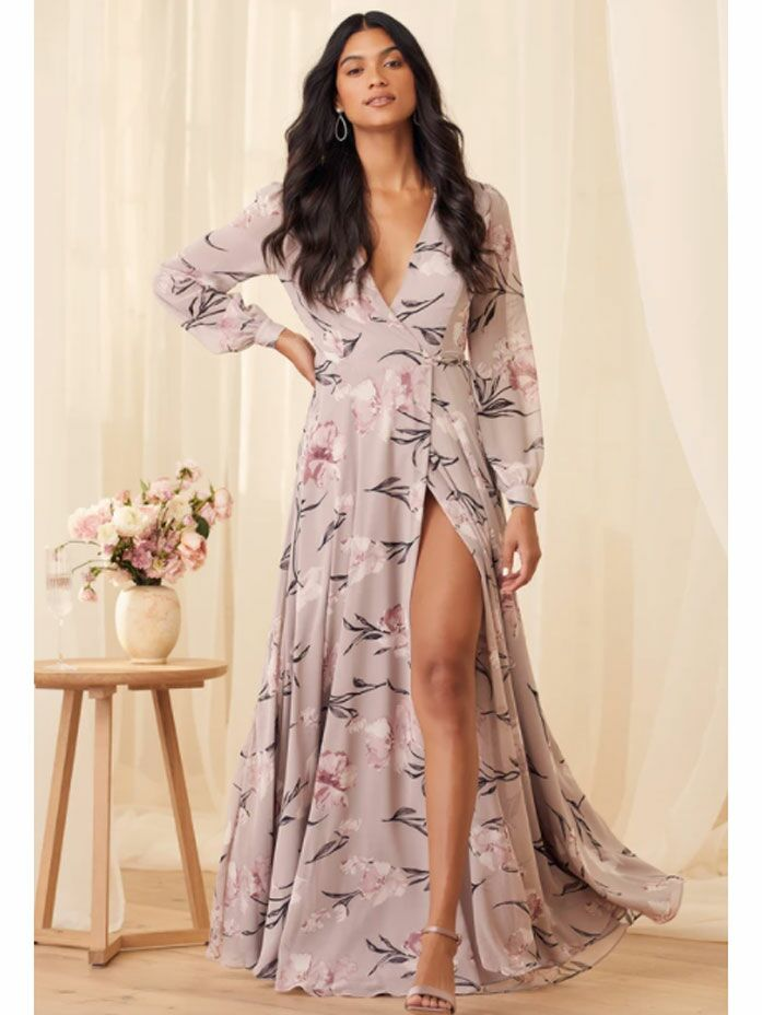 Purple floral cottagecore maxi dress with long sleeves and high slit