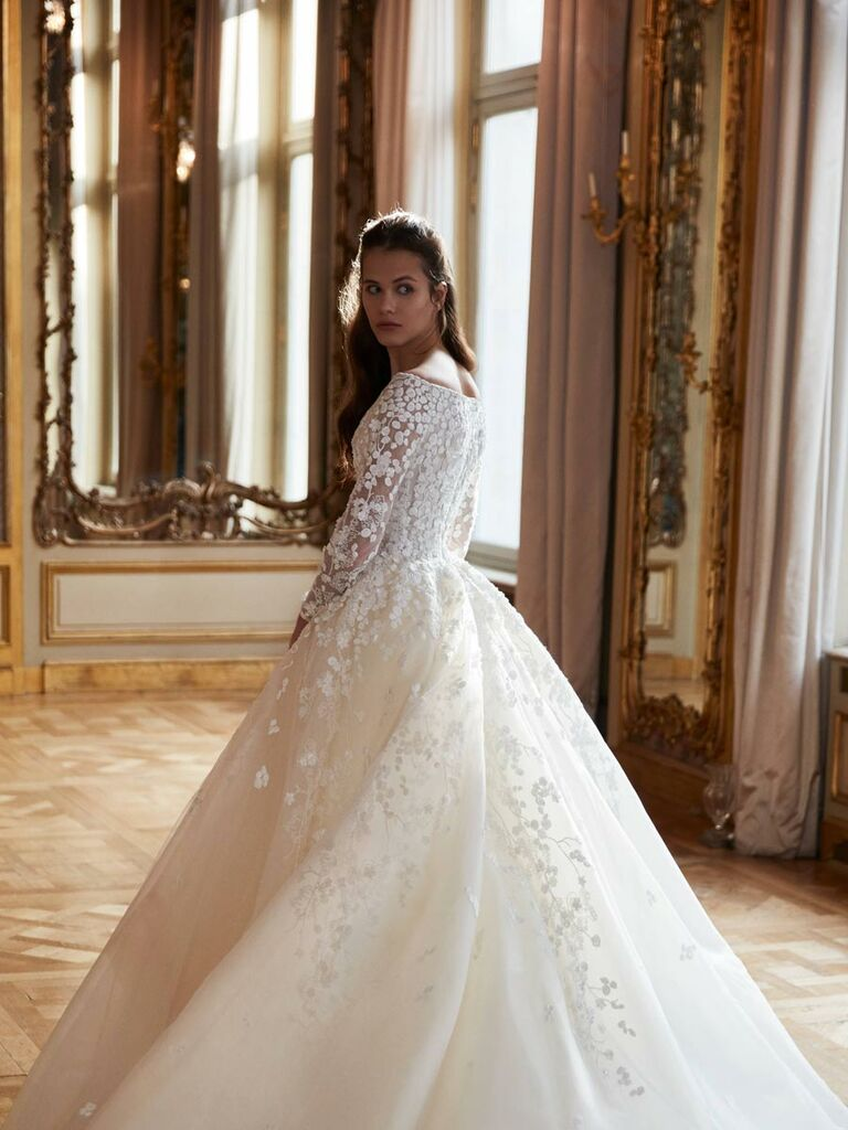 508c97aadba Elie Saab Spring 2019 off-the-shoulder ball gown wedding dress with floral  applique