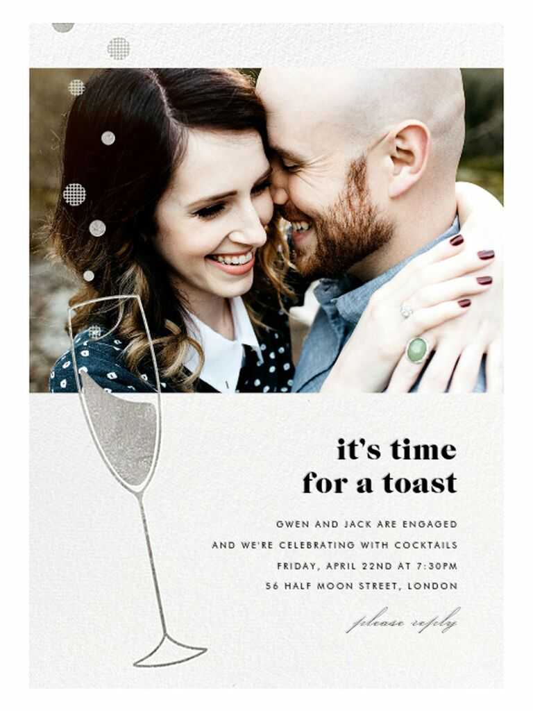 Silver champagne engagement party invitation