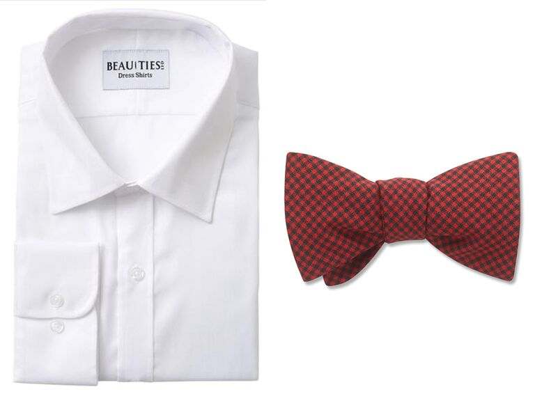 White button down shirt with black and red check bowtie