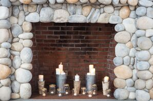 Rustic Ceremony Fireplace Accent with Candlelight