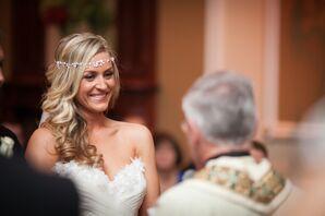 Bride in a Silver Headband at Ceremony
