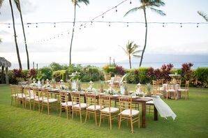 Outdoor Reception With Farm Table