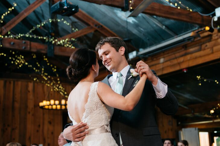 """When it came to choosing their first-dance song, Katharine and Nate ditched tradition. """"Our first dance was to 'Hold My Hand' by Hootie and the Blowfish, which is my favorite song of all time,"""" says Katharine. """"Our band was wonderful and learned the song for us."""""""