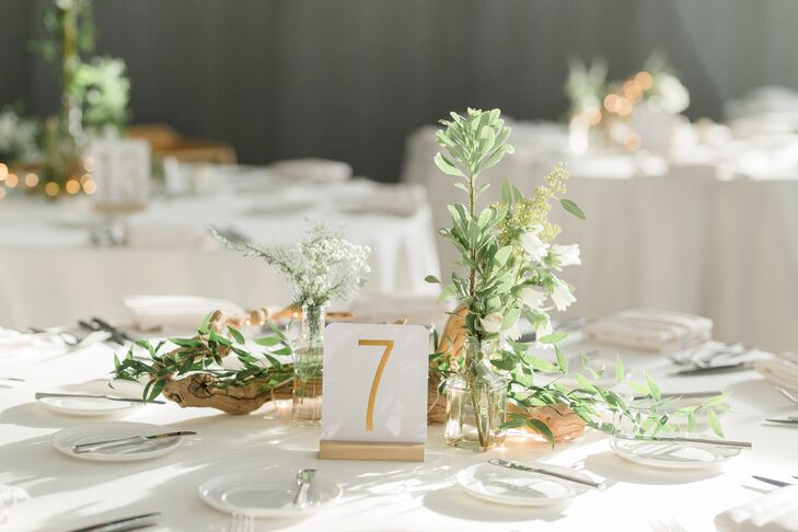 Modern Gold Table Number with Minimal Greenery and Baby's Breath Centerpieces