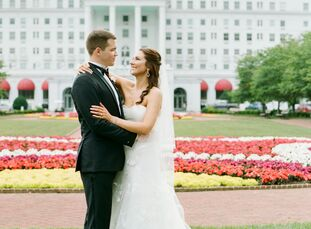 "Calyn Haley's family spent many Christmas vacations at The Greenbrier, so it was a fitting venue for her 215-guest wedding to Brian Haynes. ""We wanted"