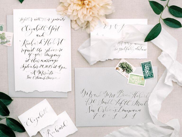 Custom wedding calligraphy by Ebb & Flow Ink