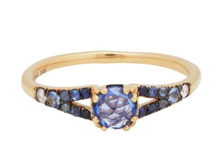 Pavé set blue sapphire and grey diamond gradient engagement ring