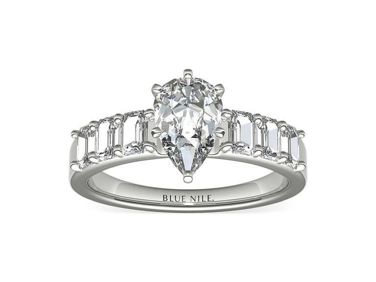 Blue Nile emerald cut diamond engagement ring in platinum