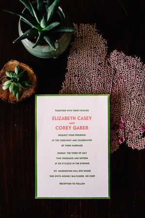 Modern Coral and Green Invitations