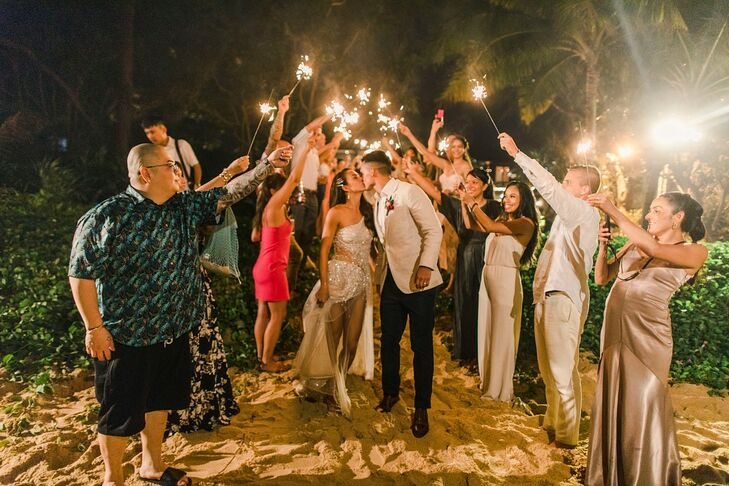 Tropical Sparkler Exit with Bride, Groom and Guests at Baba Beach Resort in Thailand