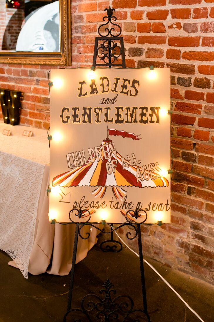 Maggie and Doug brought their vintage circus theme to life with DIY elements like red velvet curtains and funky signs.