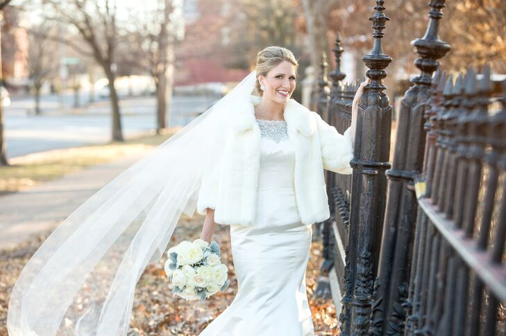 All White Wedding Dress And Veil With White Fur Coat