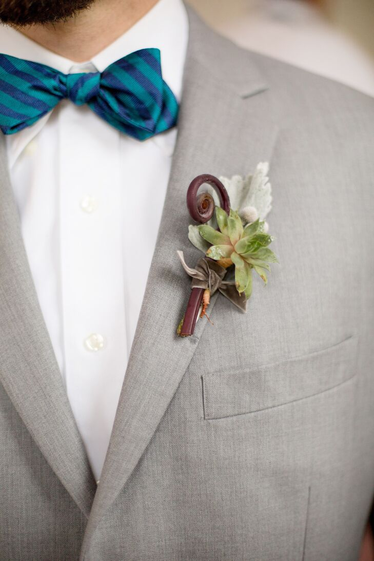 "Catering to Miriam's succulent obsession, whimsical boutonnieres were made to pair with the groomsmen's blue bow ties. ""I loved that the succulents in the bridesmaid bouquets and groomsmen boutonnieres made each one unique,"" Miriam says."