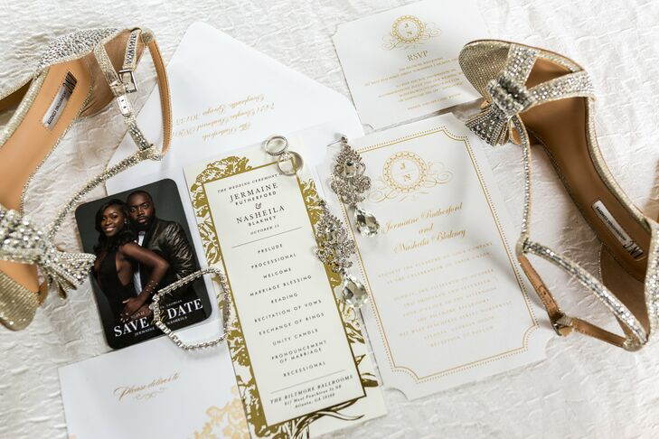 Glamorous Invitation Suite with Gold Accents and Crest