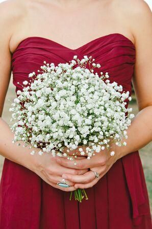 Simple Bridesmaid Bouquet With Dark Dresses