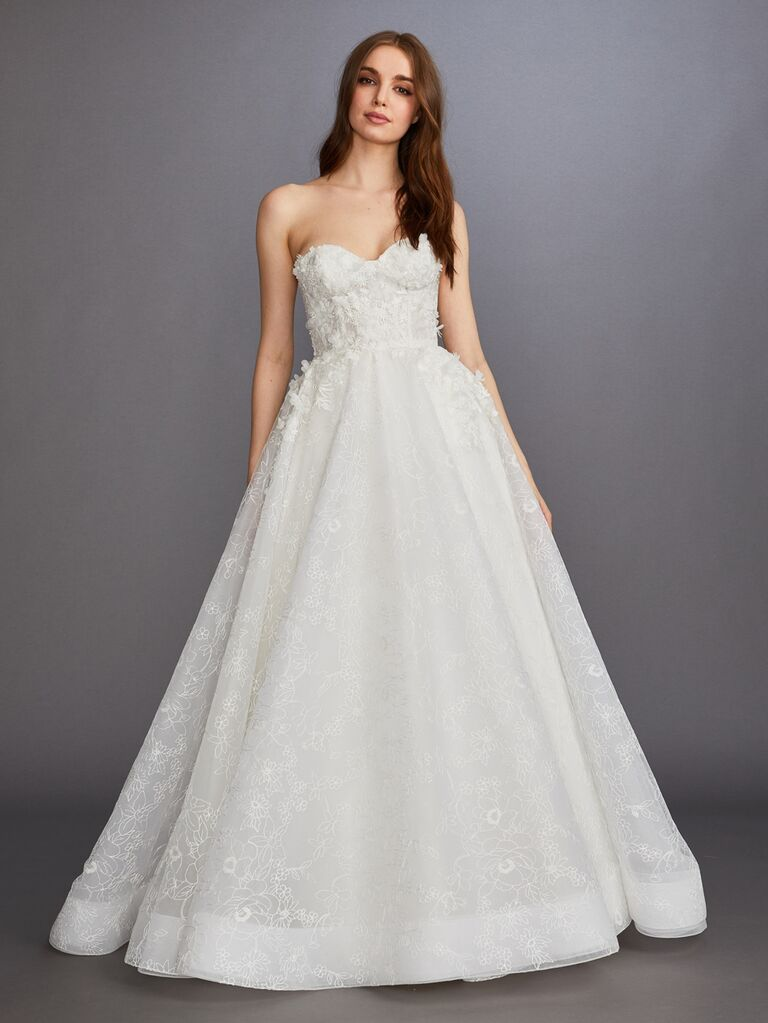 Lazaro Fall 2019 Bridal Collection strapless sweetheart A-line wedding dress with floral appliqué