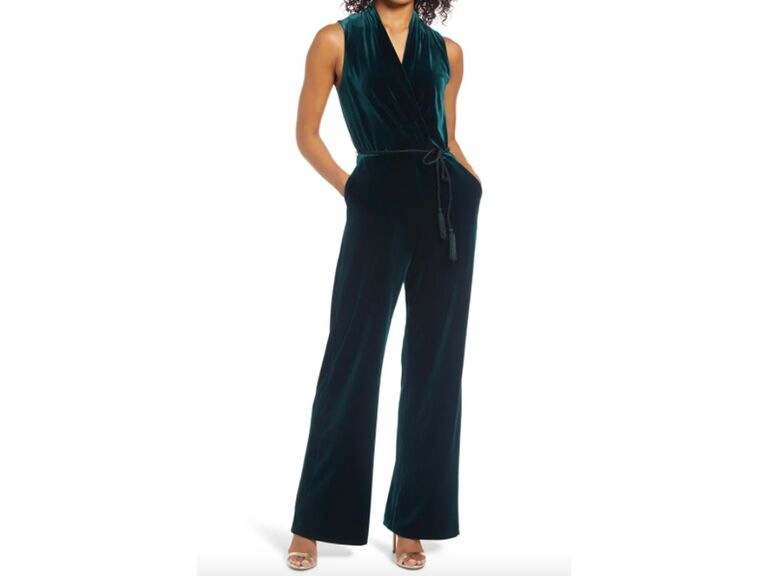 Green velvet sleeveless jumpsuit