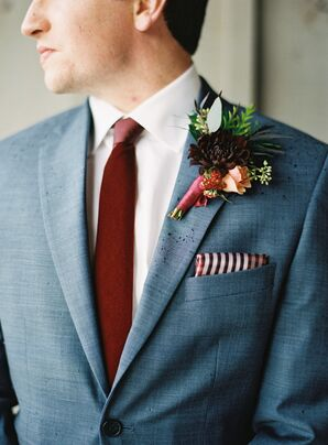 Burgundy Groom Accessories and Boutonniere