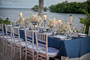 White Rose Tablescape With Silver Candlesticks