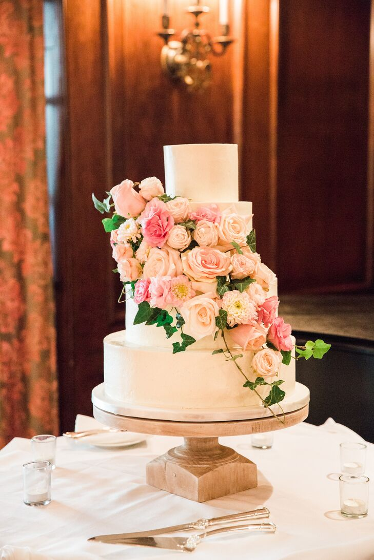 Four-Tier Fondant Cake with Blush Roses