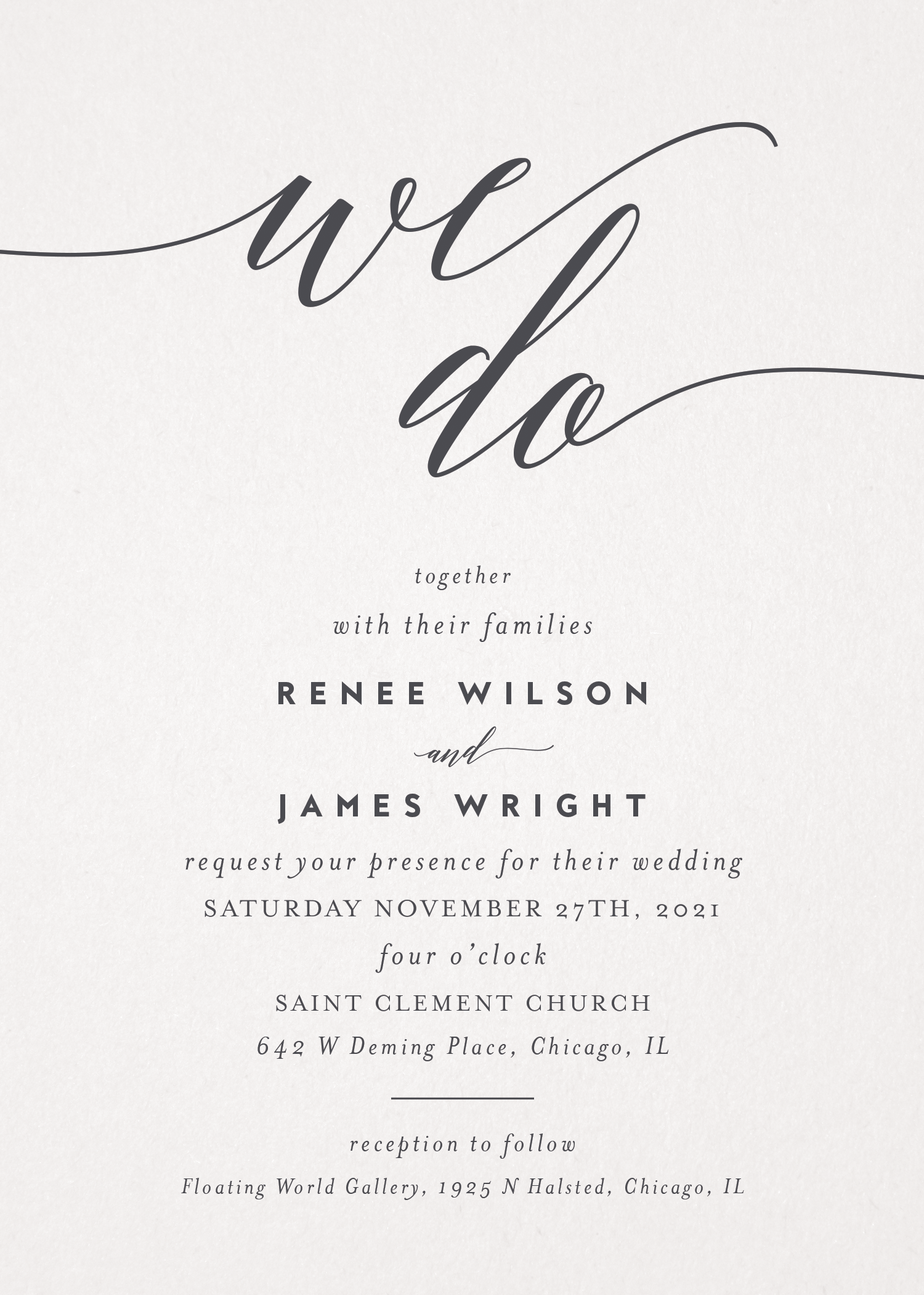 """Customizable, modern wedding invitation showcasing """"We Do"""" message in calligraphy font with your names and wedding details below."""