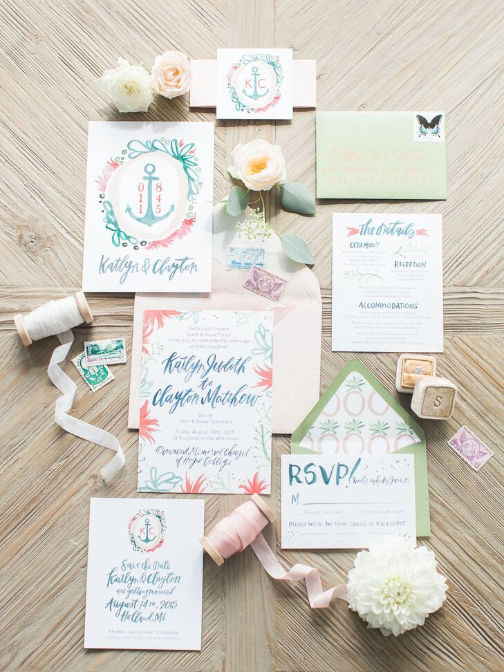 "Chicago-based illustrator and lettering pro Allie Hasson worked closely with the couple to create a pastel-colored invitation suite that incorporated subtle anchor details. ""She really helped us set our theme with her design expertise,"" Katlyn says."