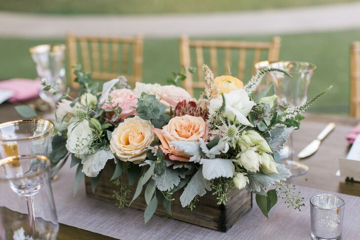 Garden Rose and Dusty Miller Centerpieces