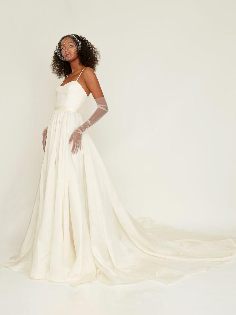 silk organza A-line wedding dress with spaghetti straps and sweetheart neckline
