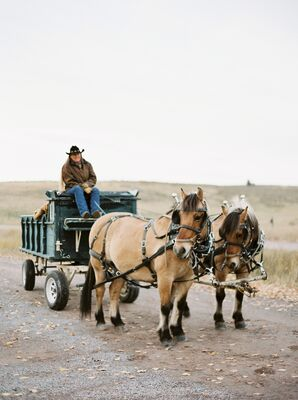 Horse-Drawn Wagon, Montana Ranch Wedding