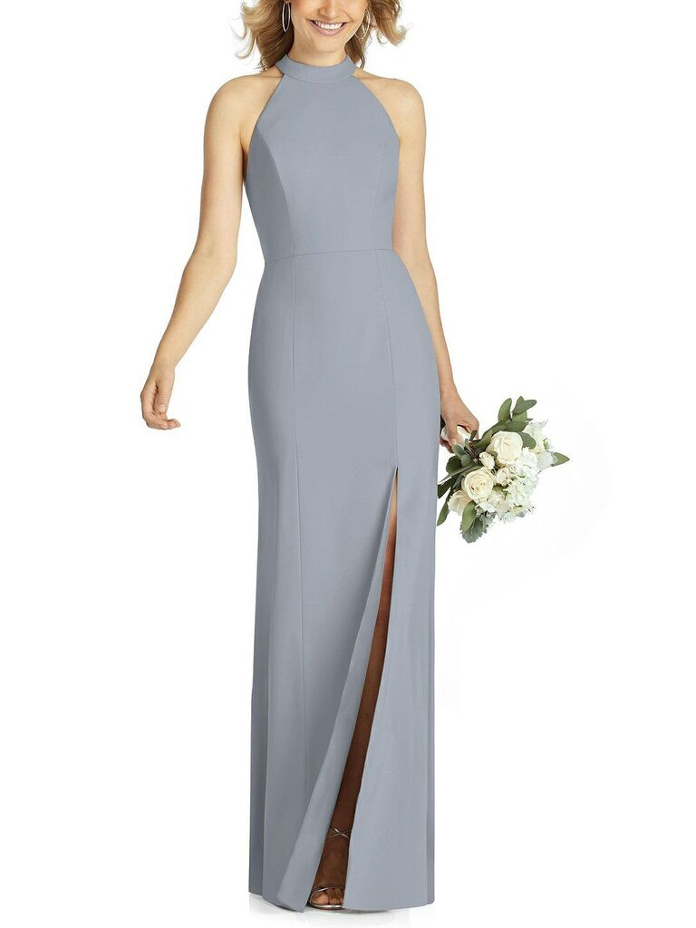Long gray bridesmaid dress with high neckline