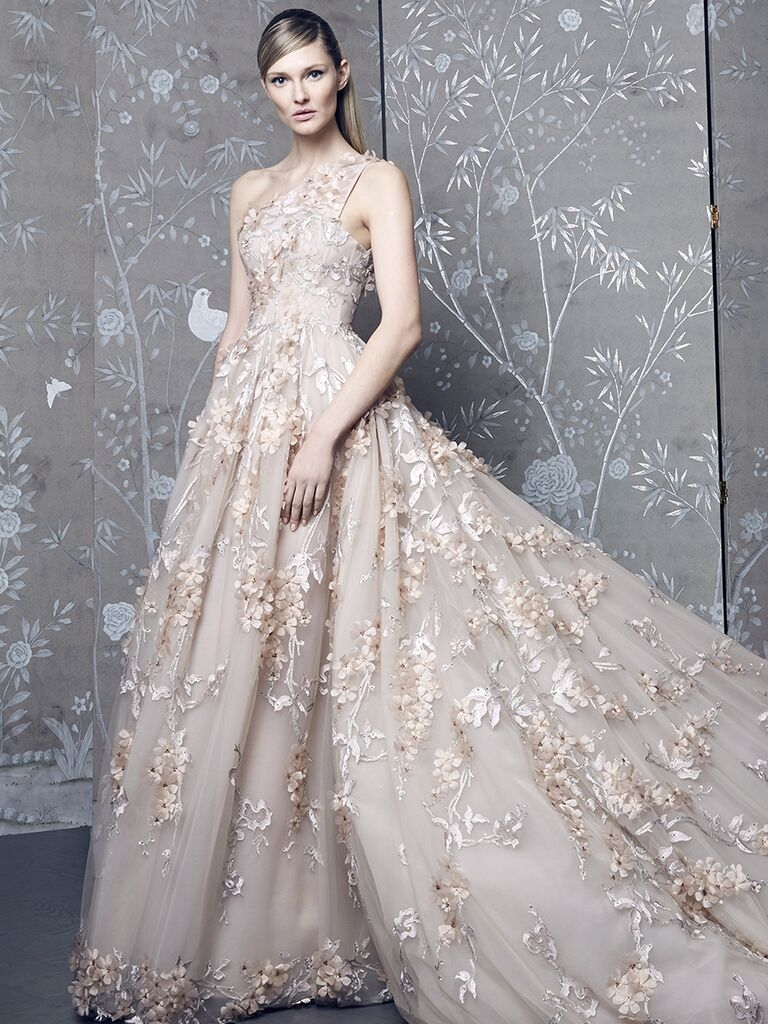 Romona Keveza Collection Fall 2018 wedding dress with one shoulder and allover embellishments