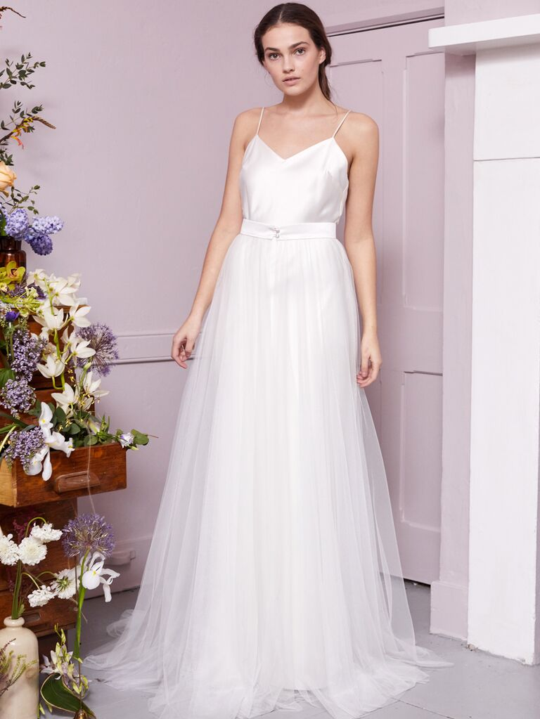 Halfpenny London 2020 Bridal Collection A-line tulle wedding dress with spaghetti strap bodice