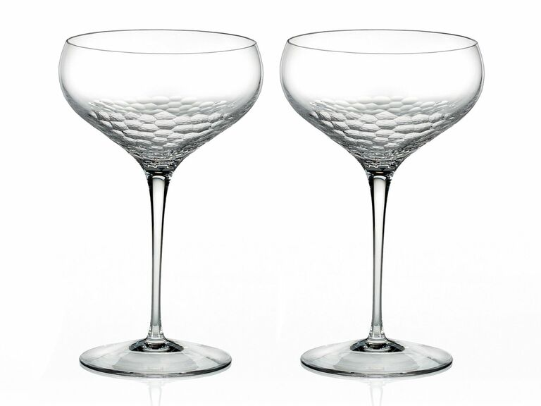 set of two coupe glasses with unique crystal pattern