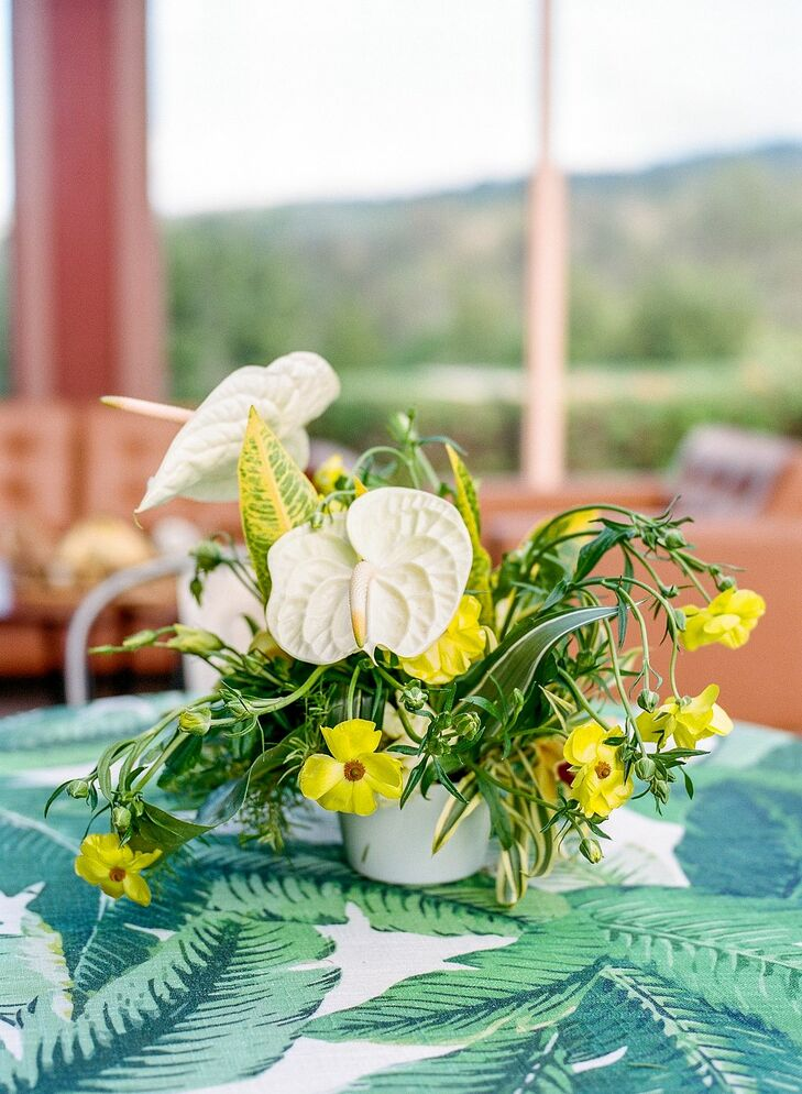 White-and-Yellow Centerpiece with Anthurium