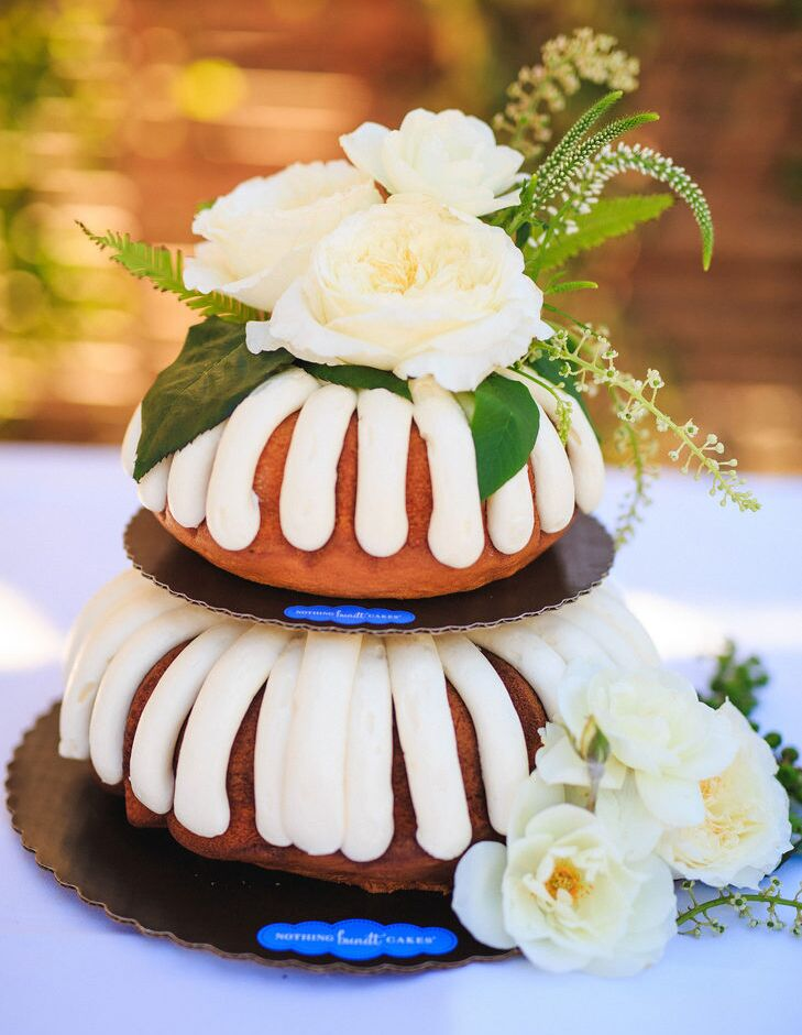 Bundt cake with white rose accents