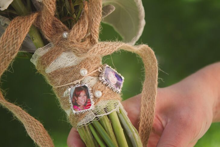 """My cousin gave me the sweetest gift to hang on my bouquet,"" Milena says. ""It was little charms with a picture of my mom and sister who have passed away. It was so special."""