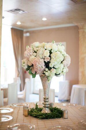 Tall Mercury Glass Vase Floral Centerpiece