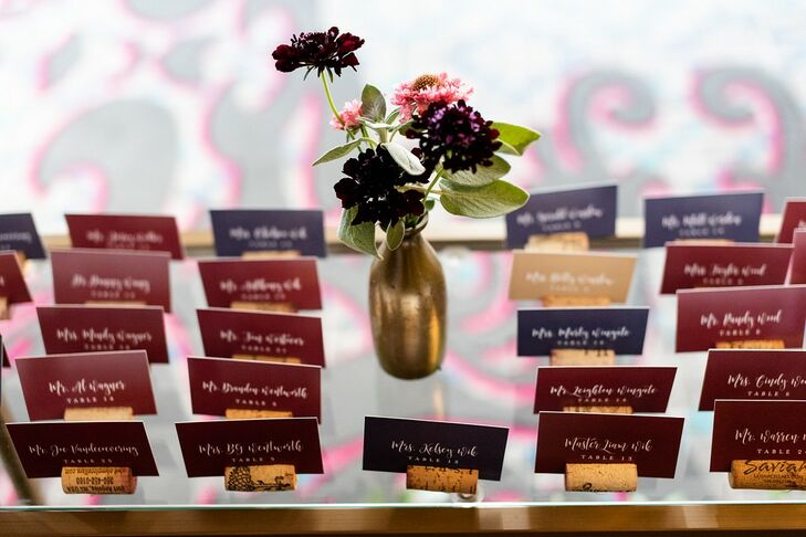 Colorful Place Cards with Calligraphy and Wine Cork Stands